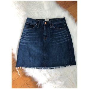 J. Crew Denim Mini Skirt with Raw Hem Dark Blue 26